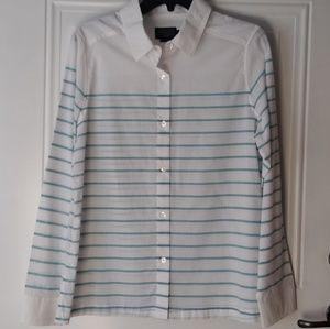 Pendleton Button Down Shirt Aqua Blue Stripe EUC